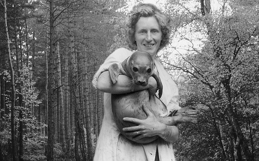 Mevrouw de Haan met een van de zeehonden in haar armen