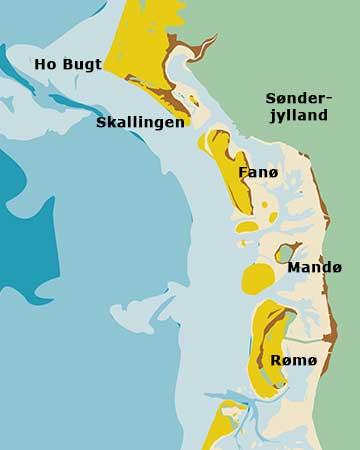 Tekening van het Deens waddengebied