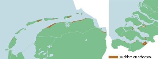 Kaart van de kwelders langs de Nederlandse kust