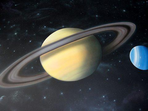 Planeten op de muur van het observatorium bij Ecomare