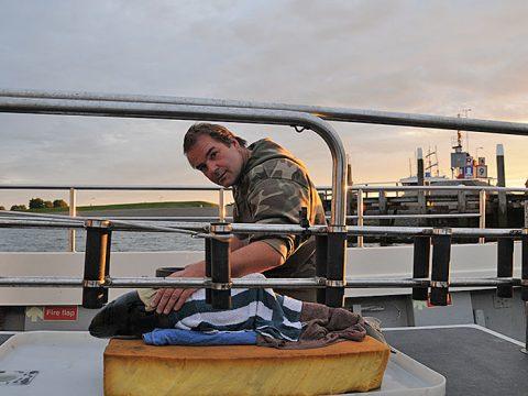 Bruinvis Lima wordt goed natgehouden tijdens de vaartocht