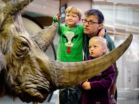 Vader kijkt met kinderen naar wolharige neushoorn bij Ecomare