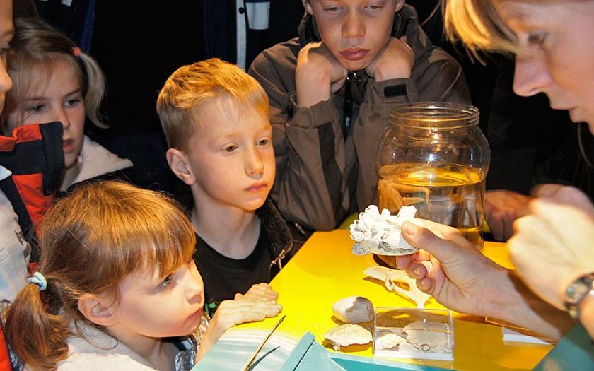 Kinderen bij de kokkelkar van Ecomare