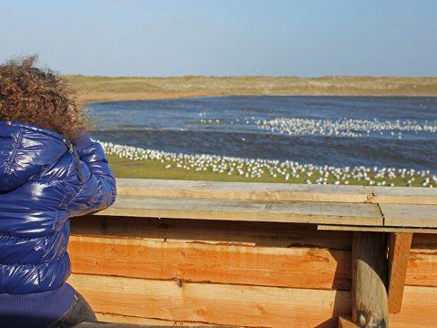 Vrouw met verrekijker kijkt uit over waterplas