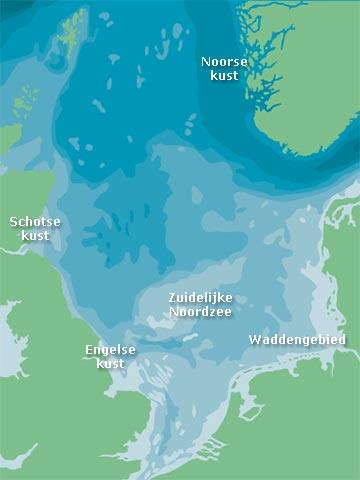 kaart van de Noordzee