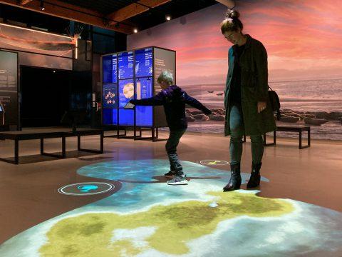 Interactief vloerspel-tentoonstelling Wonderlijk Wad-met bezoek