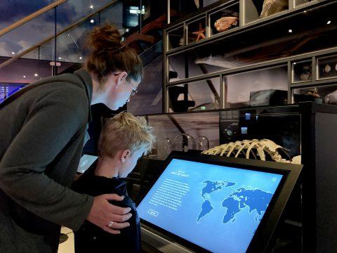 Touchscreen-tentoonstelling Wonderlijk Wad-met bezoek